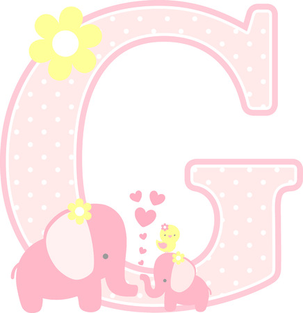 Ilustración de initial g with cute elephant and little baby elephant isolated on white. can be used for mother's day card, baby girl birth announcements, nursery decoration, party theme or birthday invitation - Imagen libre de derechos