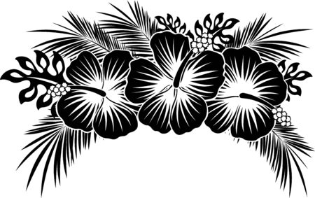 Illustration for hibiscus flowers with tropical leaves in black and white - Royalty Free Image