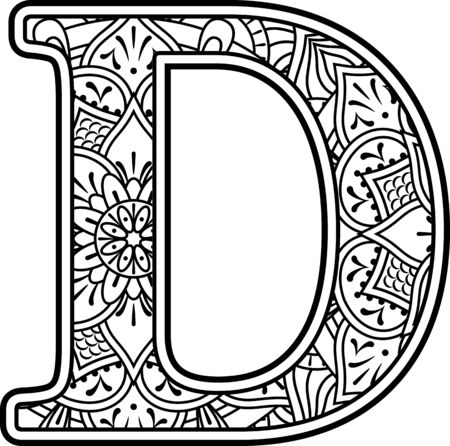 Ilustración de initial d in black and white with doodle ornaments and design elements from mandala art style for coloring. Isolated on white background - Imagen libre de derechos