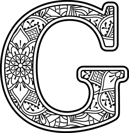 initial g in black and white with doodle ornaments and design elements from mandala art style for coloring. Isolated on white background