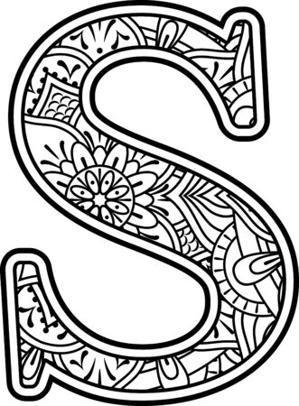 Ilustración de initial s in black and white with doodle ornaments and design elements from mandala art style for coloring. Isolated on white background - Imagen libre de derechos