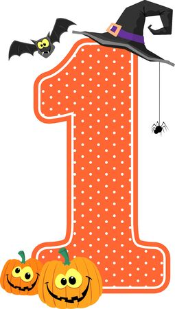 Illustration pour number 1 with smiling pumpkins and halloween design elements isolated on white background. can be used for nursery decoration or halloween paty invitation - image libre de droit