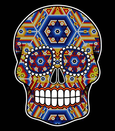 Illustration pour vector illustration of colorful beaded skull inspired in mexican huichol art and traditional sugar skull from Mexico. Popular symbol of dia de muertos. Isolated on black background - image libre de droit