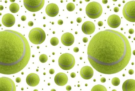 Tennis balls rain,  isolated on white background