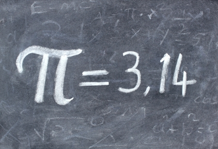Pi number on blackboard
