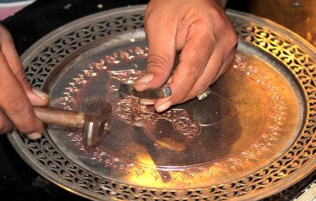Turkish traditional handmade copper  tea and coffee tray.