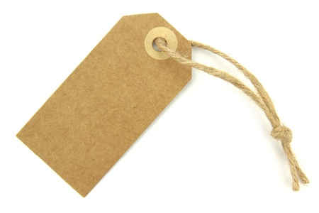 Natural paper blank label with knotted rope