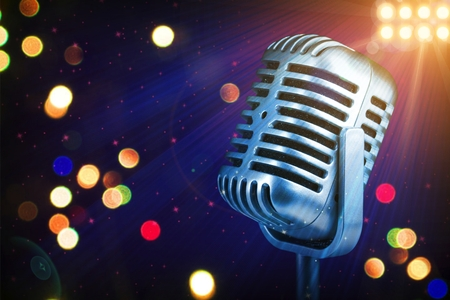 Photo for Retro microphone with stage lights - Royalty Free Image
