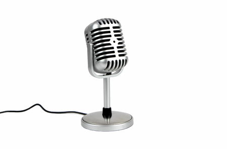 Photo for Retro microphone. ( Dynamic microphone ) isolated on white background - Royalty Free Image