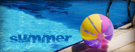 Beachball and swimmingpool. Concept of vacations