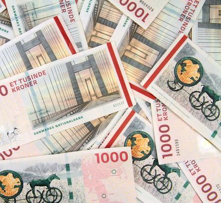 Danish Krone background - 1000 DKK banknotes