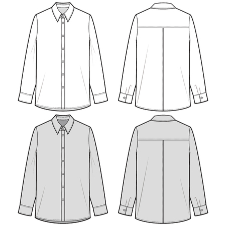 Illustration for LONG SLEEVE SHIRTS fashion flat sketch template - Royalty Free Image