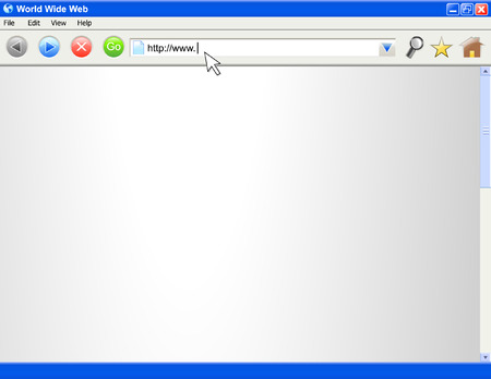 A blank computer internet browser screen. There are several icons/buttons. The beginning of an internet address is being typed out. Perfect for adding your website into.