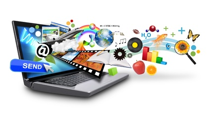 An isolated laptop has many objects projecting out of the screen on a white background  Use it for an email download concept or internet research idea