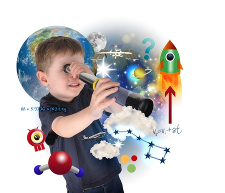 A young science boy is looking into space with carious astronomy icons  There is a white background with a planet  Use it for an education concept