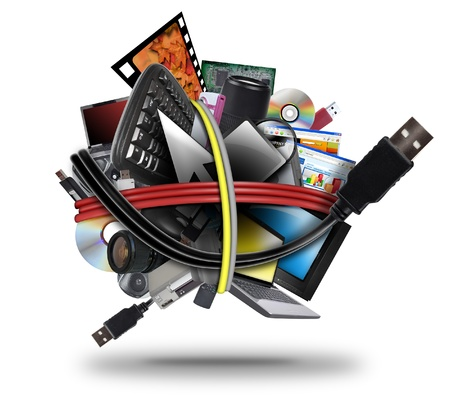 A ball of different electronic media devices ranging from a laptop to a television  A usb cord wire is wrapped around the gadgets on a white background