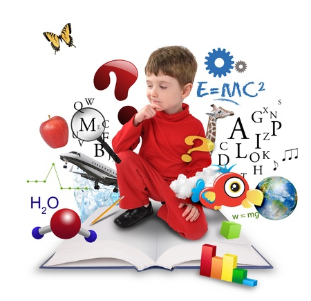 A young boy is sitting on a big with different science, math and physics icons around him on a white background  Use it for a school or learning concept