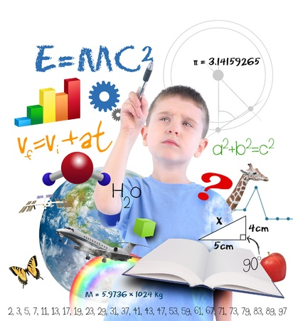A young boy is writing on a white background with different science, math and physics icons around him  Use it for a school or learning concept