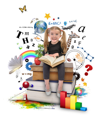 A young girl with glasses is reading a book with school icons such as math formulas, animals and nature objects around her for an education concept on white.