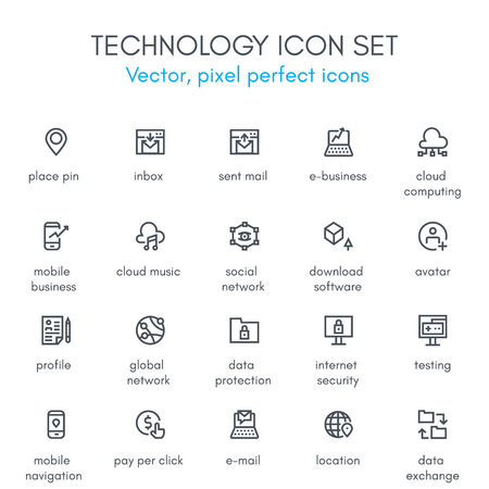Photo for Technology theme line icon set. Pixel perfect fully editable vector icon set suitable for websites, info graphics and print media. - Royalty Free Image