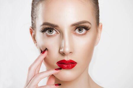 Photo pour Makeup Makeup Beautiful. Beauty girl with perfect skin. White background - image libre de droit