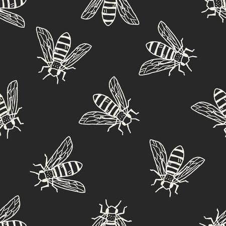 Foto de bee doodle seamless pattern background - Imagen libre de derechos