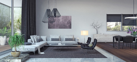 Photo for Living room, interior design 3D Rendering - Royalty Free Image