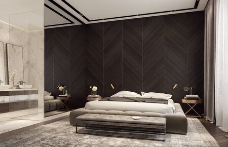 Photo for Modern design of bedroom with bathroom 3D Rendering - Royalty Free Image