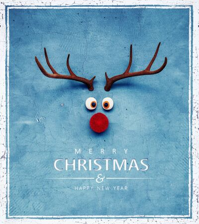 Photo for Christmas Reindeer with red cold nose on blue background 3D Rendering - Royalty Free Image