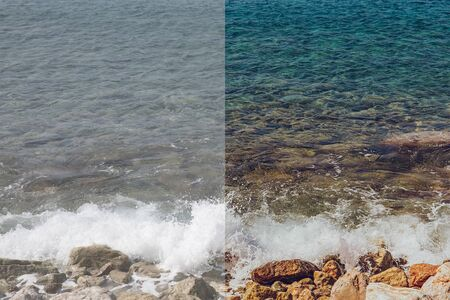 Photo pour Photo before and after the image editing process. Coastline sea rocks with clear turquoise water - image libre de droit