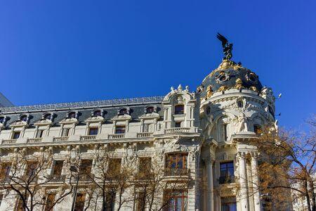 MADRID, SPAIN - JANUARY 21, 2018: Metropolis Building (Edificio Metropolis) at Alcala and Gran Via streets in City of Madrid, Spain