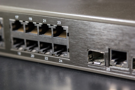 rj45 ports and gbic port on front panel of a switch