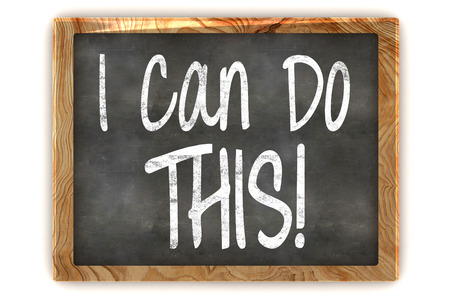A Colourful 3d Rendered Blackboard showing the Inspirational Message I Can Do This!