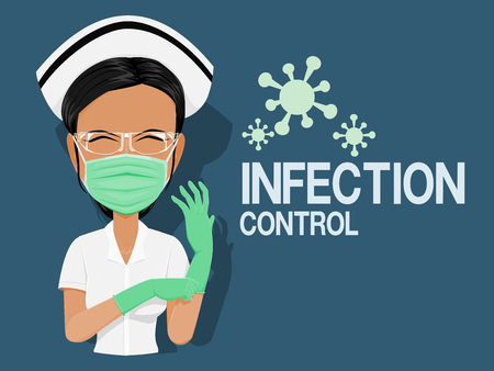 Illustration pour Nurse with the personal protective equipment in the infection zone - image libre de droit
