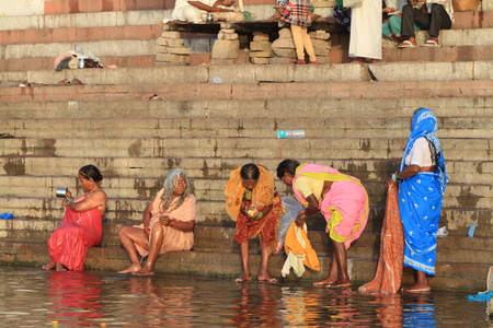 The Holy bath in the river of Varanasi