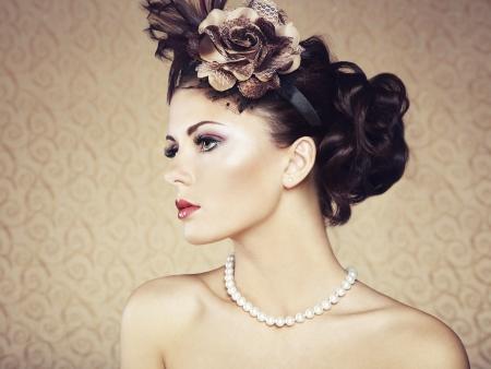 Retro portrait of  beautiful woman  Vintage style