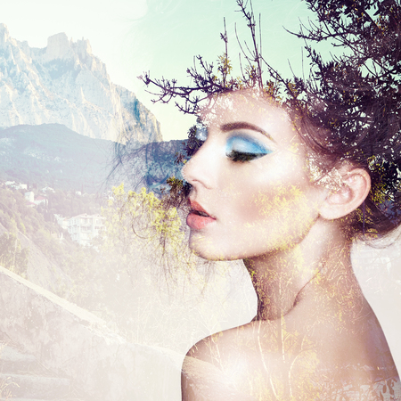 Photo for Portrait of beautiful sensual woman with elegant hairstyle.  Fashion photo. Double exposure portrait of woman combined with photograph of nature - Royalty Free Image
