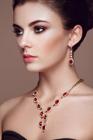 Photo for Fashion portrait of young beautiful woman with jewelry. Brunette girl. Perfect make-up.  Beauty style woman with diamond accessories - Royalty Free Image