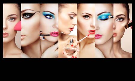 Beauty collage. Faces of women. Fashion photo. Makeup artist applies lipstick and eye shadow. Woman applying perfumeの写真素材