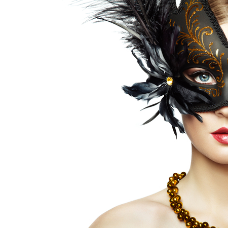 Photo pour Beautiful young Woman in Mysterious Black Venetian Mask. Fashion photo. Masquerade Mask with Black Feathers - image libre de droit