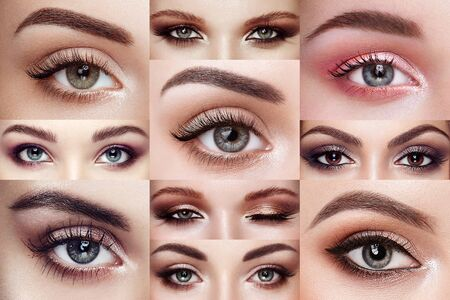 Photo pour Collage of women's eyes with extreme long eyelashes. Eyelash extensions. Makeup, cosmetics, Beauty. Close up, Macro - image libre de droit