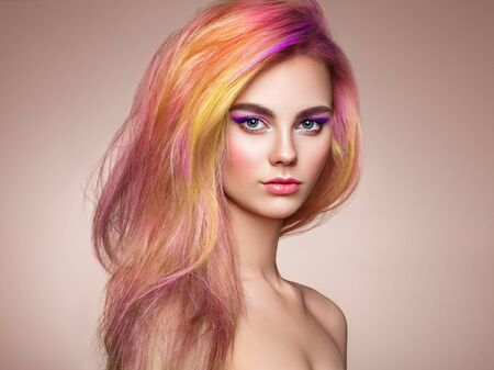 Photo for Beauty Fashion Model Girl with Colorful Dyed Hair. Girl with Perfect Makeup and Hairstyle. Model with Perfect Healthy Dyed Hair - Royalty Free Image