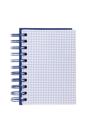 Blue spiral-bound notepad, isolated on white