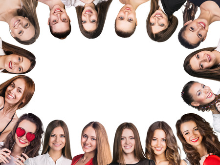 Photo pour Smilling frame. Group of young happy women. Isolated - image libre de droit