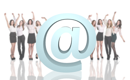 Group of business people with big e-mail icon on the white background