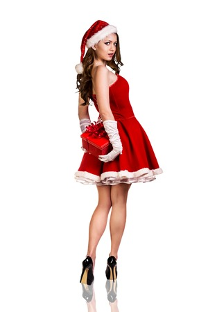 Beautiful and sexy woman wearing santa clause costumeの写真素材