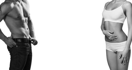 Foto de Man and woman's bodies isolated on a white background - Imagen libre de derechos