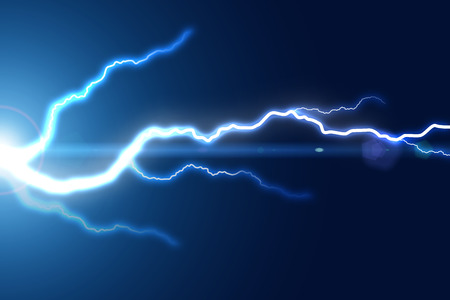 Bright lightning strike on the blue background