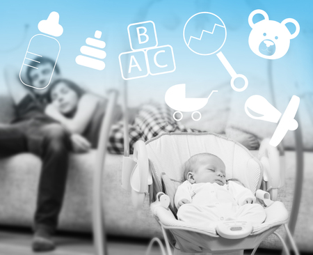 Newborn sleeping in baby swing and tired parents background