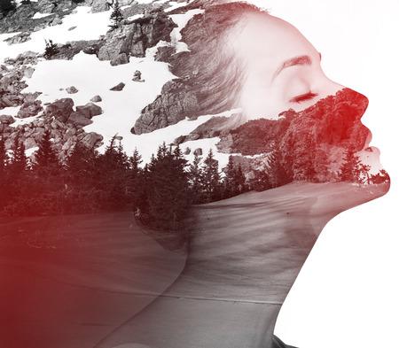 Photo pour Double exposure portrait of attractive lady combined with photograph of nature. - image libre de droit